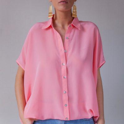 rosa sidenblus