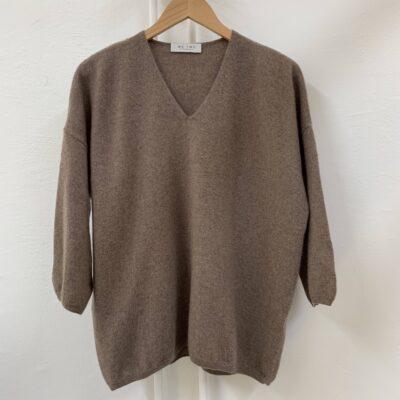 brun melerad cashmere tröja