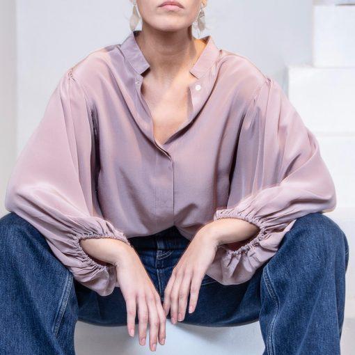 dusty pink silk blouse