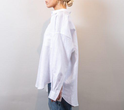 ALMA cotton poplin shirt white side view