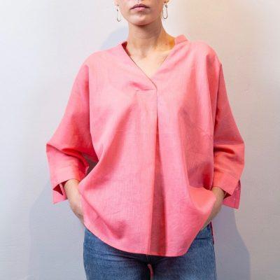 LISA Linen blouse coral front