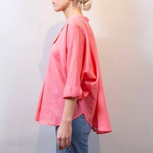 LISA linen blouse coral side