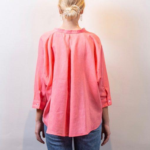 LISA linen blouse coral back