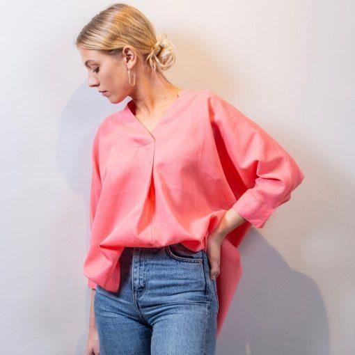 ALMA linen blouse coral front detail