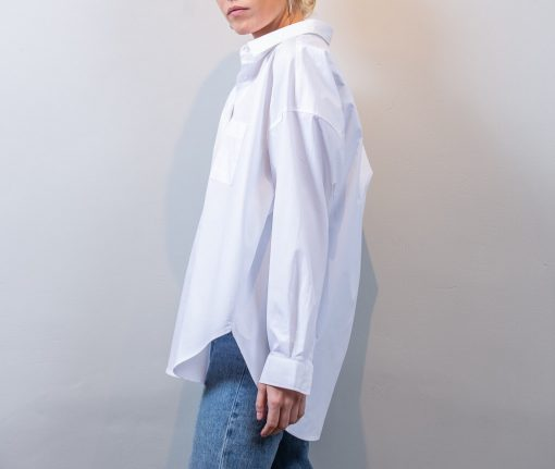 ALMA cotton poplin shirt white front