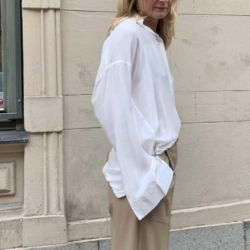 white oversized silk shirt