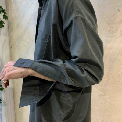 dark green silk shirt