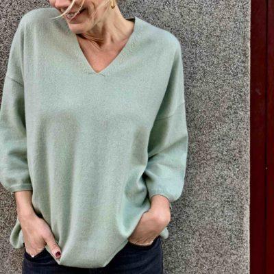ljusgrön cashmere tröja