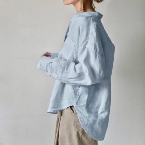 ljusblå oversized linneskjorta