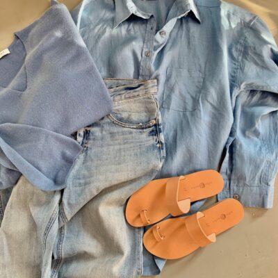 mellanblå linneskjorta alma