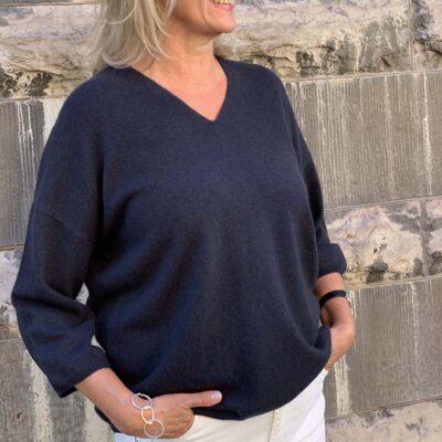blå melerad cashmere tröja