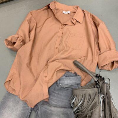sandstens färgad skjorta i siden-bomull