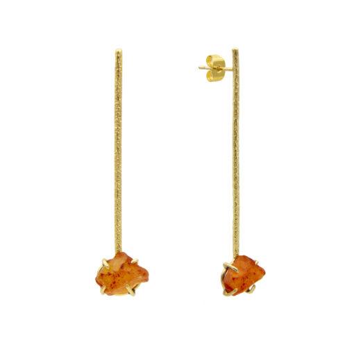 agate sten orange handgjort örhänge