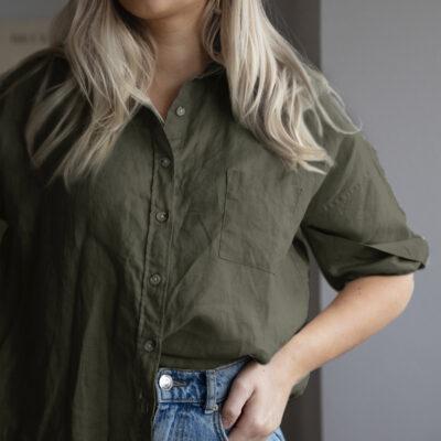 khakigrön linneskjorta dam