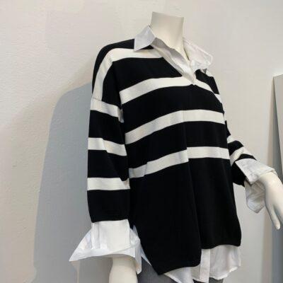 Randig bomullströja i svart och vitt